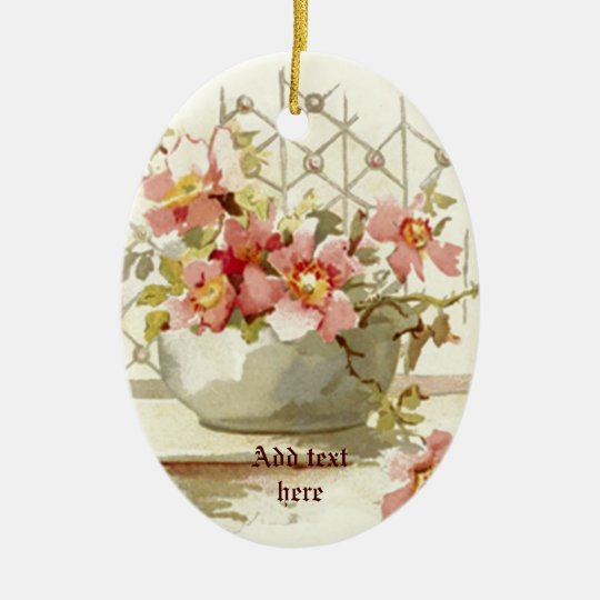 Vase with pink roses vintage watercolor ornament
