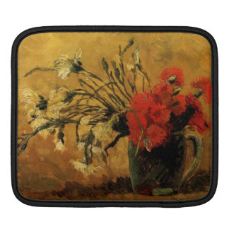 Vase with Red and White Carnations iPad Sleeves