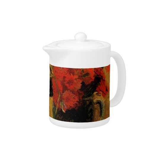 Vase with Red and White Carnations Teapot