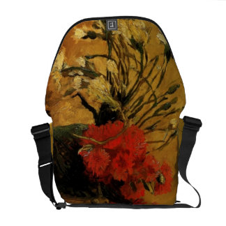 vase with red and white carnations, van Gogh Courier Bag