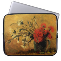 vase with red and white carnations, van Gogh Computer Sleeve