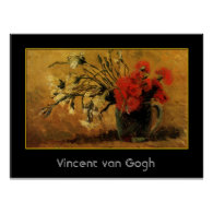 vase with red and white carnations, van Gogh Posters