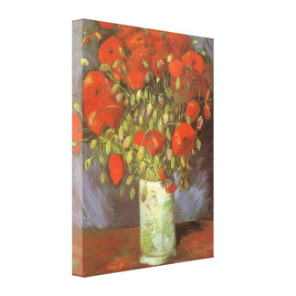 Vase with Red Poppies by Van Gogh, Vintage Flowers Stretched Canvas Prints