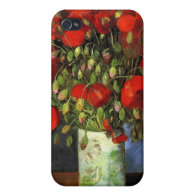 Vase with Red Poppies by Vincent van Gogh. iPhone 4 Case