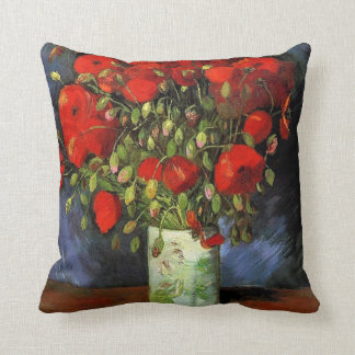 Vase with Red Poppies by Vincent van Gogh. Throw Pillows