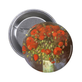Vase with Red Poppies by Vincent van Gogh Pinback Button