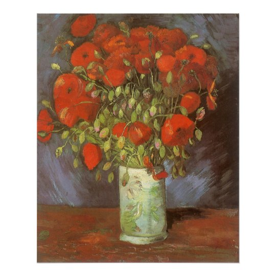 Vase with Red Poppies by Vincent van Gogh Poster