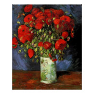Vase with Red Poppies by Vincent van Gogh. Posters