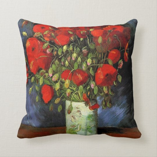 Vase with Red Poppies by Vincent van Gogh. Throw Pillow