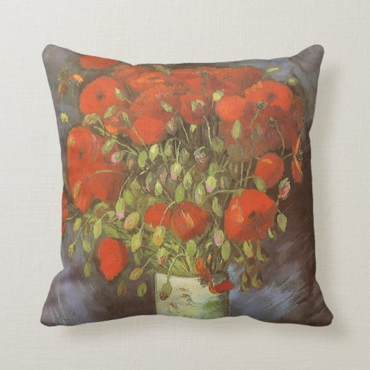 Vase with Red Poppies by Vincent van Gogh Throw Pillow