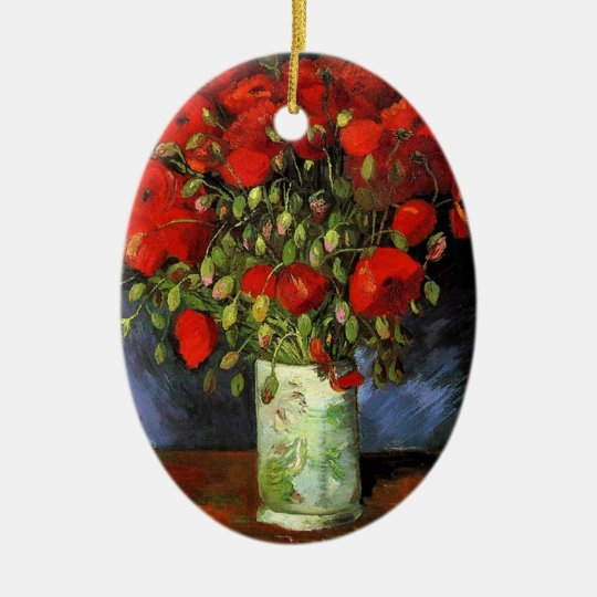 Vase with Red Poppies Vincent van Gogh Ceramic Ornament