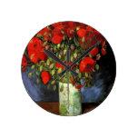 Vase with Red Poppies Vincent van Gogh Round Clocks