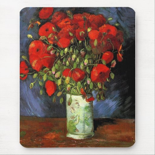 Vase with Red Poppies Vincent van Gogh Mouse Pad