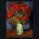 "Vase with Red Poppies | Vincent Van Gogh Poster<br><div class=""desc"">Fine art poster print of Vase with Red Poppies by Dutch artist Vincent Van Gogh. Original work is an oil on canvas depicting a still life of bright red flowers. Click Customize It to change the poster size or personalize the design.</div>"