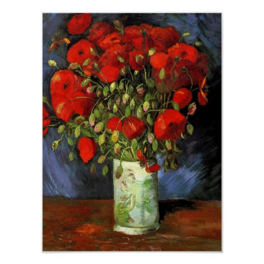 Vase With Red Poppies Vincent Van Gogh Poster Zazzle Com
