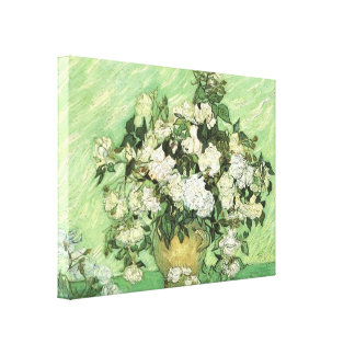 Vase with Roses by van Gogh Wrapped Canvas