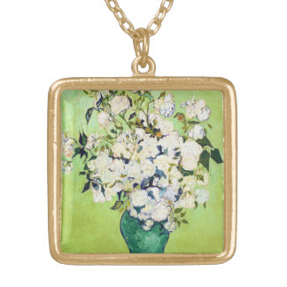 Vase with Roses Vincent Van Gogh painting Custom Necklace