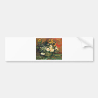 """""""Vase with Sunflowers, Roses and Other Flowers"""" Bumper Sticker"""