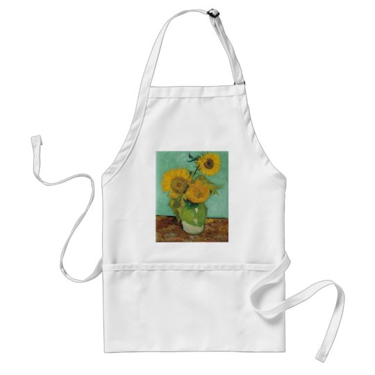 Vase with three sunflowers, Vincent van Gogh Adult Apron