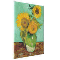 Vase with three sunflowers, Vincent van Gogh Gallery Wrapped Canvas