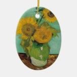 Vase with three sunflowers, Vincent van Gogh Double-Sided Oval Ceramic Christmas Ornament