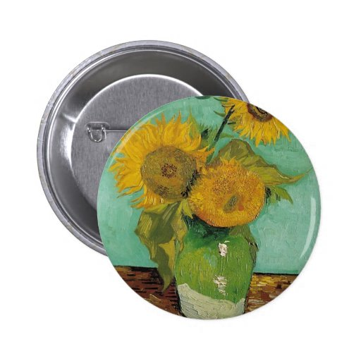 Vase with three sunflowers, Vincent van Gogh Pinback Button