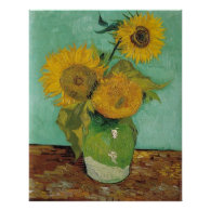 Vase with three sunflowers, Vincent van Gogh Print