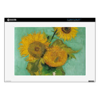 Vase with three sunflowers, Vincent van Gogh Laptop Skins