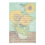 Vase with three sunflowers, Vincent van Gogh Stationery Paper
