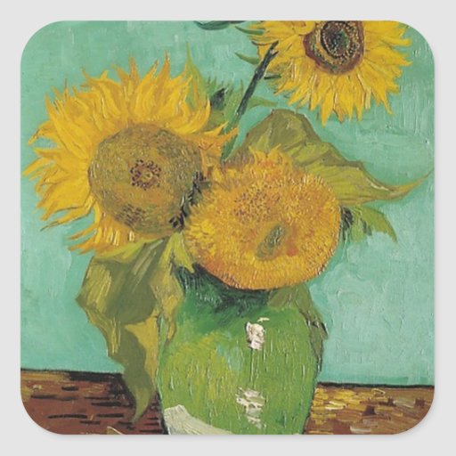Vase with three sunflowers, Vincent van Gogh Stickers