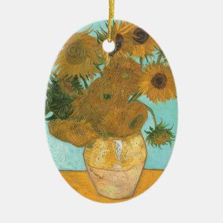 Vase with Twelve Sunflowers by Vincent van Gogh Ceramic Ornament