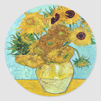 Vase With Twelve Sunflowers By Vincent Van Gogh Classic Round Sticker