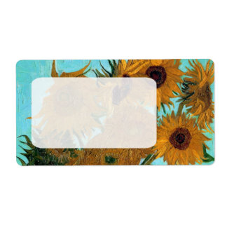 Vase with Twelve Sunflowers by Vincent van Gogh Label