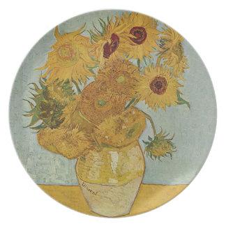 Vase with Twelve Sunflowers by Vincent van Gogh Melamine Plate