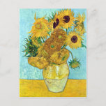"""Vase With Twelve Sunflowers By Vincent Van Gogh Postcard<br><div class=""""desc"""">To the best of my these images are in public domain and knowledge to be free to use without restriction in the US.   Please contact me if you discover that any of these images are not in Public Domain.</div>"""