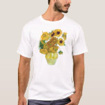 """Vase With Twelve Sunflowers By Vincent Van Gogh T-Shirt<br><div class=""""desc"""">To the best of my knowledge these images are in public domain and believed to be free to use without restriction in the US.   Please contact me if you discover that any of these images are not in Public Domain.</div>"""