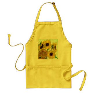 Vase with Twelve Sunflowers, Van Gogh Fine Art Adult Apron