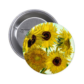 Vase with Twelve Sunflowers, Van Gogh Fine Art 2 Inch Round Button
