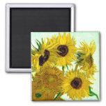 Vase with Twelve Sunflowers, Van Gogh Fine Art 2 Inch Square Magnet