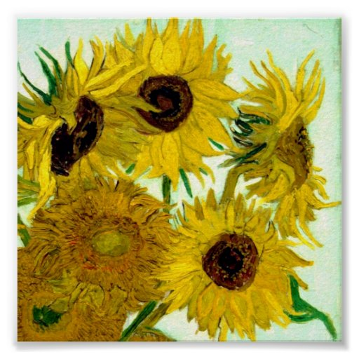 Vase With Twelve Sunflowers Van Gogh Fine Art Poster Zazzle