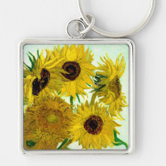 Vase with Twelve Sunflowers, Van Gogh Fine Art Silver-Colored Square Keychain