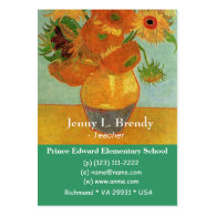 Vase with Twelve Sunflowers, Vincent van Gogh. Business Card Template