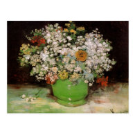 Vase with Zinnias and other flowers Postcards