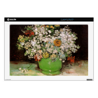 Vase with Zinnias and other flowers Laptop Skin