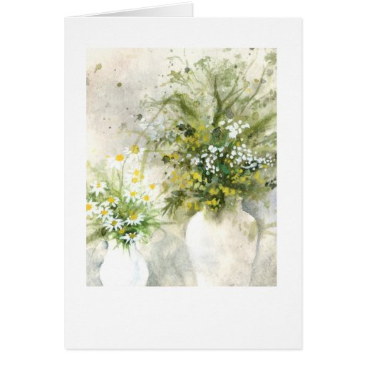 Vases green on gray card