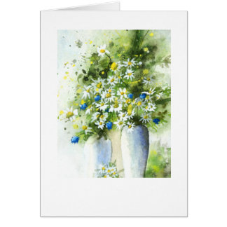Vases white on blue card