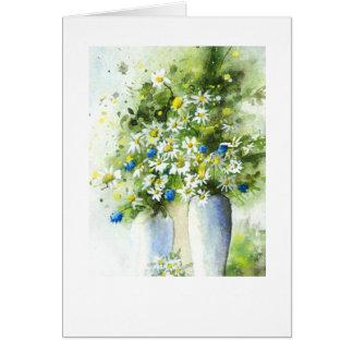 Vases white on blue greeting card