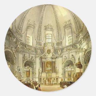 Vasily Sadovnikov: Interior de la iglesia Etiquetas Redondas