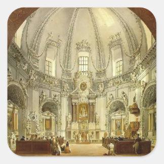 Vasily Sadovnikov: Interior de la iglesia Calcomanías Cuadradass Personalizadas