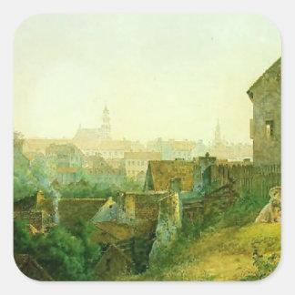 Vasily Sadovnikov: Panorama de la ciudad de Vilna Calcomania Cuadradas Personalizada